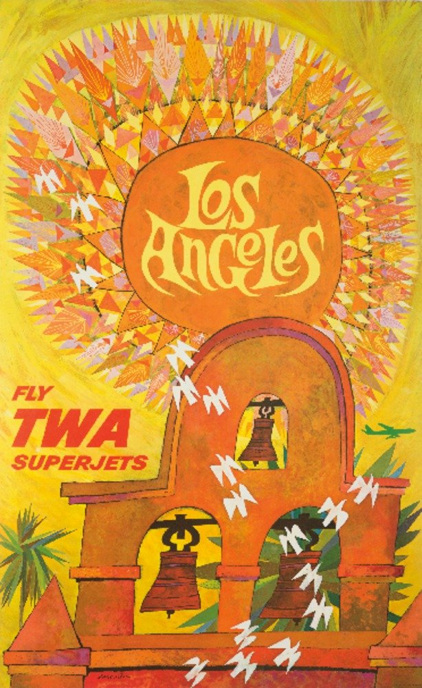 Fly TWA - Los Angeles Vintage Poster (artist: Klein) USA c. 1959 (9x12 Art Print, Wall Decor Travel Poster)