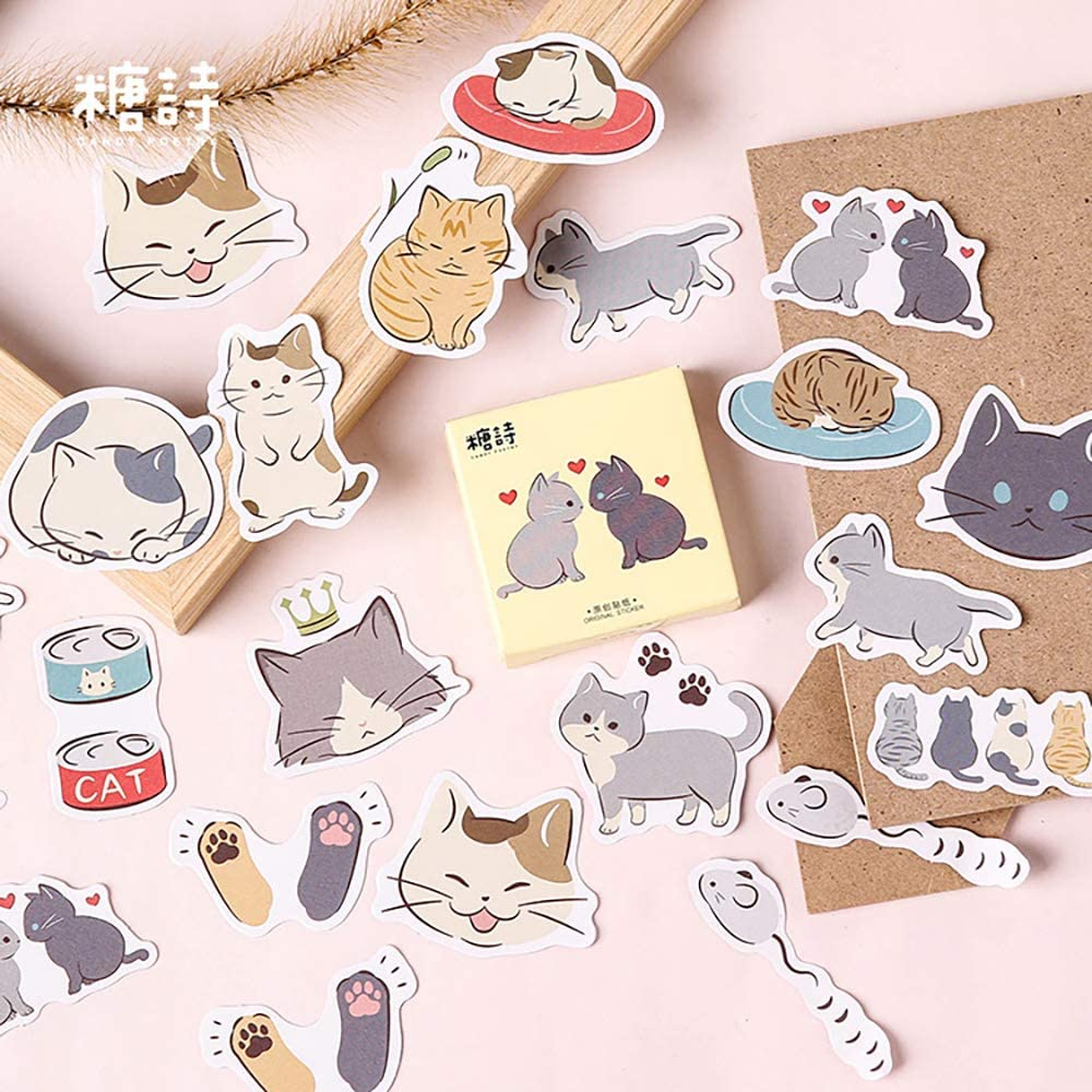 Small Size Laptop Stickers Decals, 45pcs Doraking Boxed DIY Decoration Super Cute Cats Stickers for Laptop, Planners, Scrapbook, Suitcase, Diary, Notebooks, Album(Cats Diary, 45pcs/ Box)