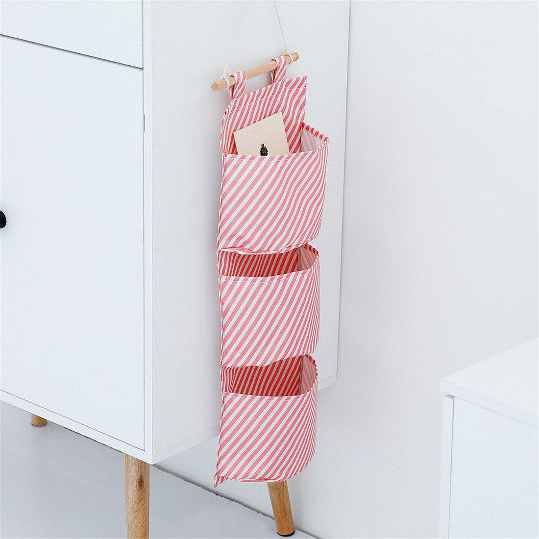 tela de Oxford Organizador de bolsas de almacenamiento impermeable Bolso de almacenamiento de pared 3 bolsillos sobre el organizador de la puerta de la sala de ba/ño Dormitorio de la cocina