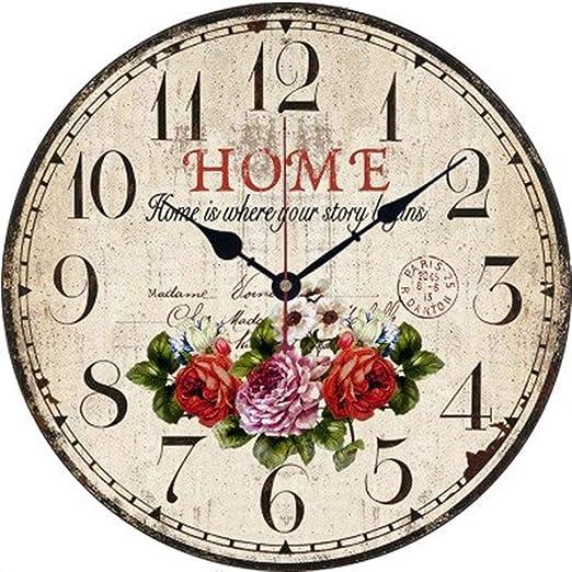 Relojes de Pared Jardín Rural Reloj de Pared Reloj Decorativo Simple Reloj de Pared de Madera Rosa Reloj de Pared Variedad (Pattern : 2): Amazon.es: Hogar