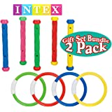 Intex Underwater Swimming/Diving Pool Toy Rings (4 Rings) & Diving Sticks (5 Sticks) Gift Set Bundle - 2 Pack