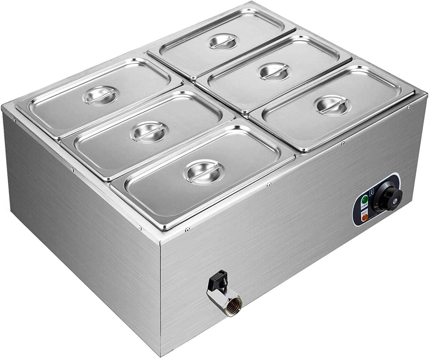 VEVOR 110V 6-Pan Commercial Food Warmer 850W Electric Countertop Steam Table 15cm/6inch Deep Stainless Steel Bain Marie Buffet Large Capacity 7 Quart