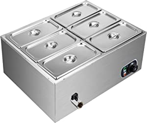 VEVOR 110V 6-Pan Commercial Food Warmer, 1200W Electric Steam Table 15cm/6inch Deep, Professional Stainless Steel Buffet Bain Marie 42 Quart Capacity for Catering and Restaurants