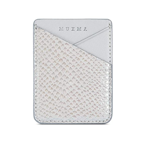 febb7750380 Fusicase Phone Card Holder Wallet Sticky Phone Wallet PU Leather Wallet  with Glossy Holographic Gradient Ramp Snake Skin Design Pocket Pouch Sleeve  ...