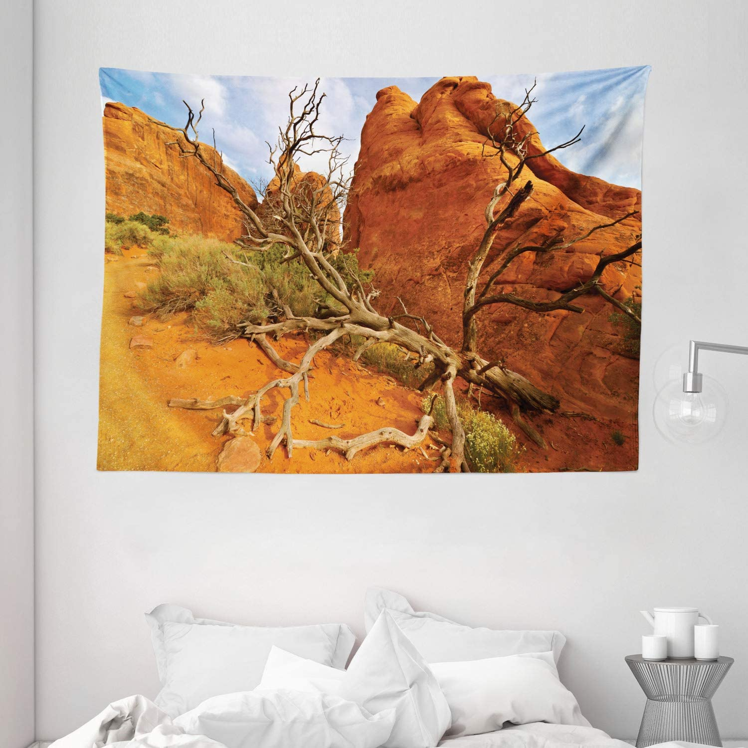Ambesonne National Parks Home Decor Tapestry, Rock on Grand Canyon Monument Valley Heart of Nature Utah Photo, Wall Hanging for Bedroom Living Room Dorm, 80 W X 60 L Inches, Orange Blue