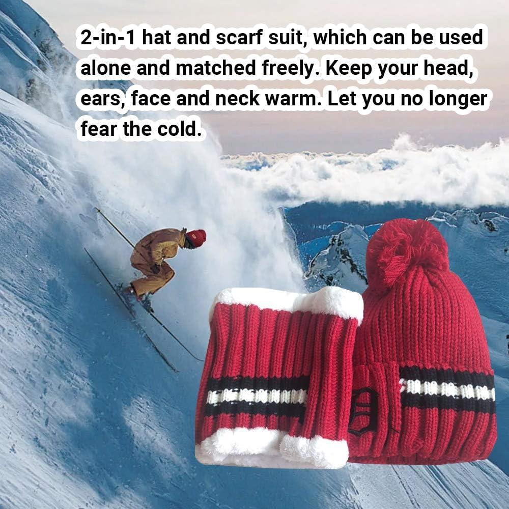 Skifahren und Outdoor-Aktivit/äten beste Geschenk Luoistu Winter M/ütze schal set Damen Strickm/ütze bommel Warme Beanie Winter M/ütze und Schal mit Fleecefutter f/ür Reiten