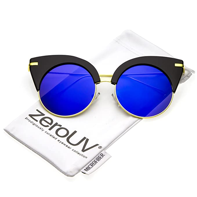 be6491898a zeroUV - Oversize Half Frame Ultra Slim Arms Round Mirrored Flat Lens Cat  Eye Sunglasses 54mm
