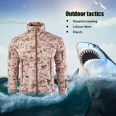 Militaire Tactique Hommes Veste Requin Peau Soft Shell Imperméable Coupe-Vent Manteau (Couleur: Désert numérique) (Taille: XL)