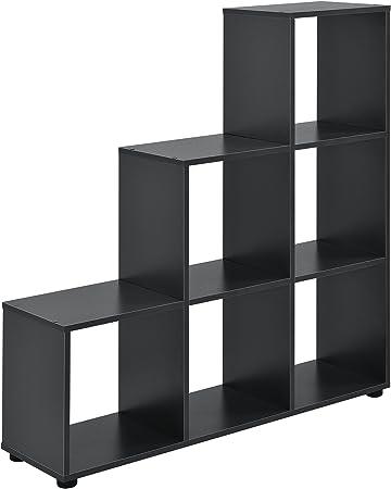 en.casa] Estantería en Forma de Escalera estilosa - Estantería de Almacenamiento con 6 compartimientos - Estantería de pie 104 x 107 x 29cm - Armario - Gris: Amazon.es: Hogar