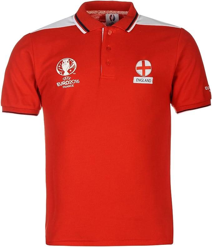 UEFA Hombre Euro 2016 Inglaterra Polo Camiseta Manga Corta Fútbol ...