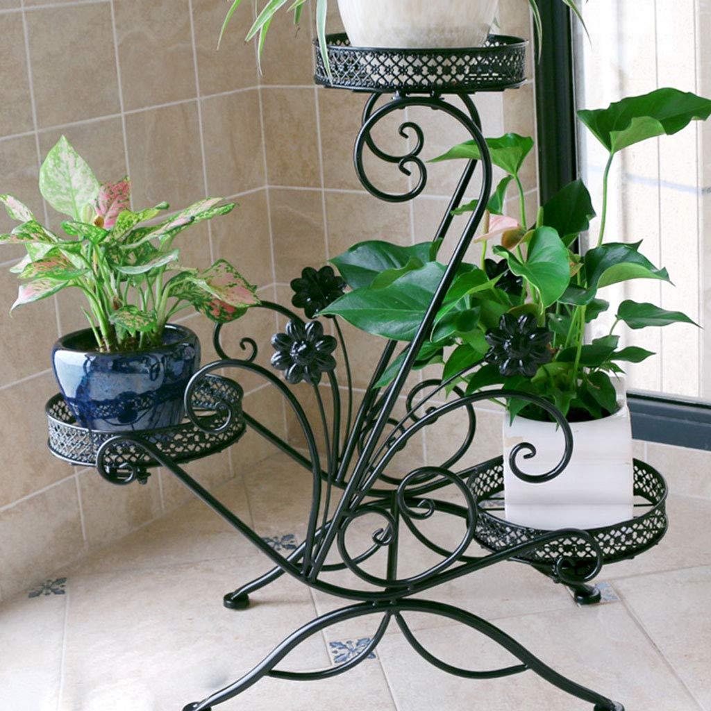 più ordine XU FENG 3-Tiered Scorrevole Decorativo in Metallo da Giardino Patio Patio Patio pianta da Fiore Vaso scaffale Display Shelf Tiene Vaso di 3 Fiori (colore   Nero)  negozio online