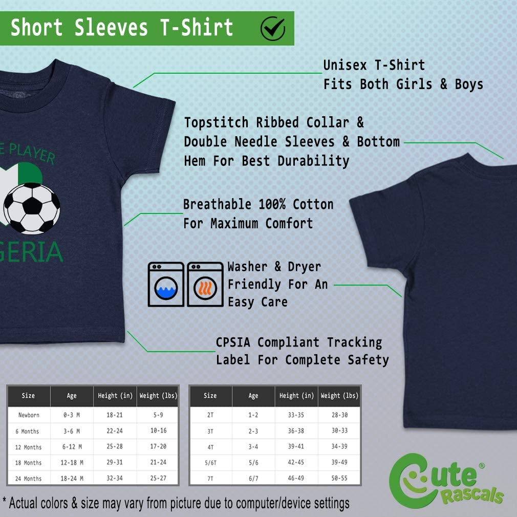 Custom Baby /& Toddler T-Shirt Future Soccer Player Nigeria Boy Girl Clothes