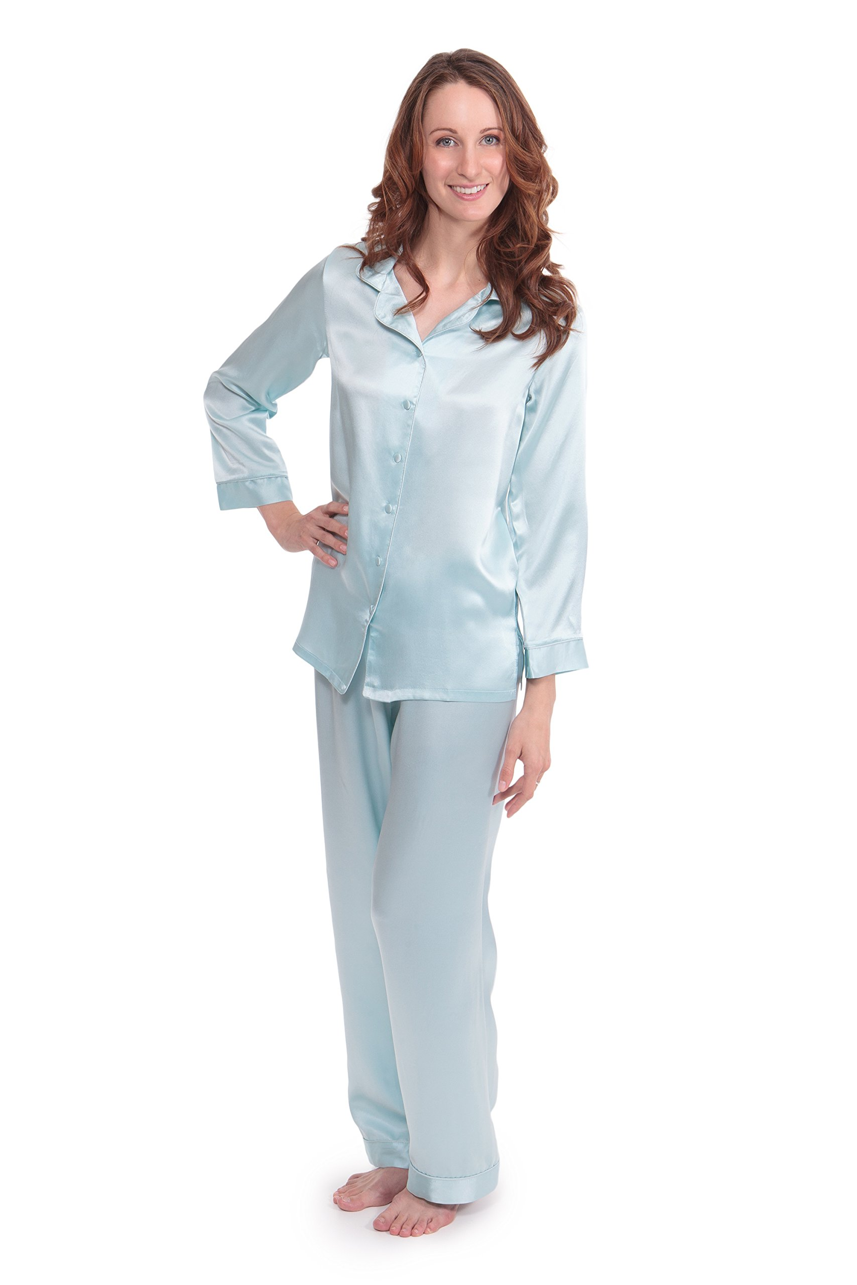 TexereSilk Women's Luxury Silk Pajama Set (Divine Blue, Large) Perfect Christmas Gifts for Wife Sister Daughter WS0001-DVB-L
