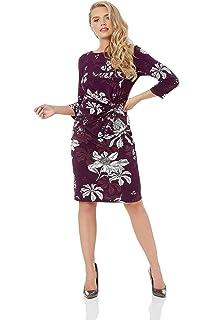 db58619c72d3 Roman Originals Women Floral Twist Waist Dress - Ladies Versatile Everyday  Work Day 3 4 Sleeve…