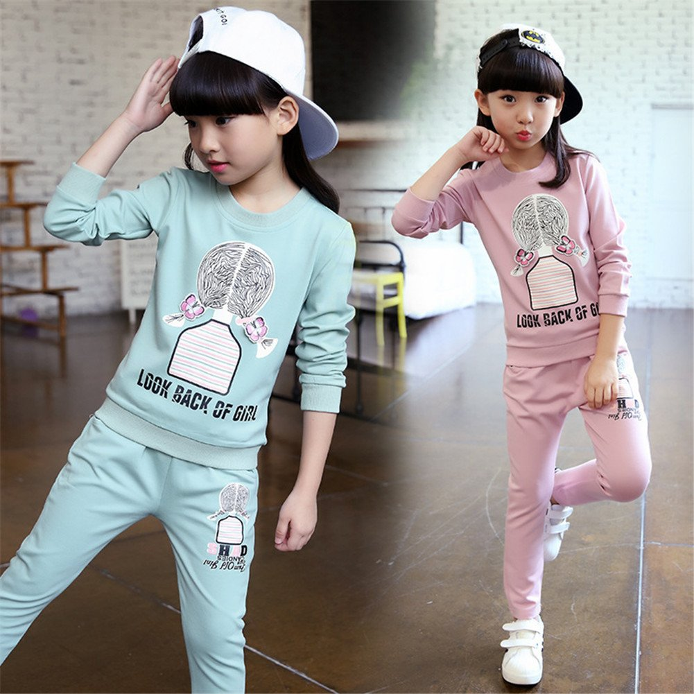 FTSUCQ Girls Sports Tracksuits Sweatershirt Pullover Coat Pants
