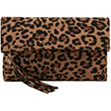 Charming Tailor Leopard Clutch Bag for Women Tassel Foldover Clutch Faux Suede Dressy Purse for Day to Evening