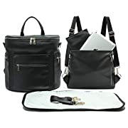 Leather Diaper Bag Backpack by MF Store, Diaper Backpack with Laptop Sleeve,Changing Pad,Wipes Pouch,Diaper Bag Organizer,Stroller Straps and Insulated Pockets (Black)