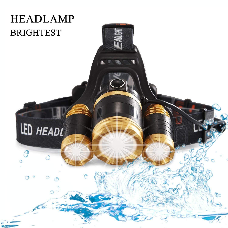 MUTANG Leichte super helle LED-Stirnlampe-Licht-Scheinwerfer-Aufladbare Wasserdichte LED-Scheinwerfer-Taschenlampe Zoomable für harten Hut kampierendes laufendes Fischen