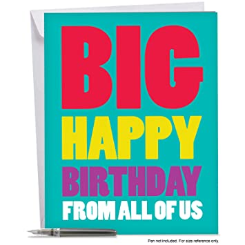 Amazon j3900bdg jumbo birthday greeting card big happy j3900bdg jumbo birthday greeting card big happy birthday from us with envelope large bookmarktalkfo