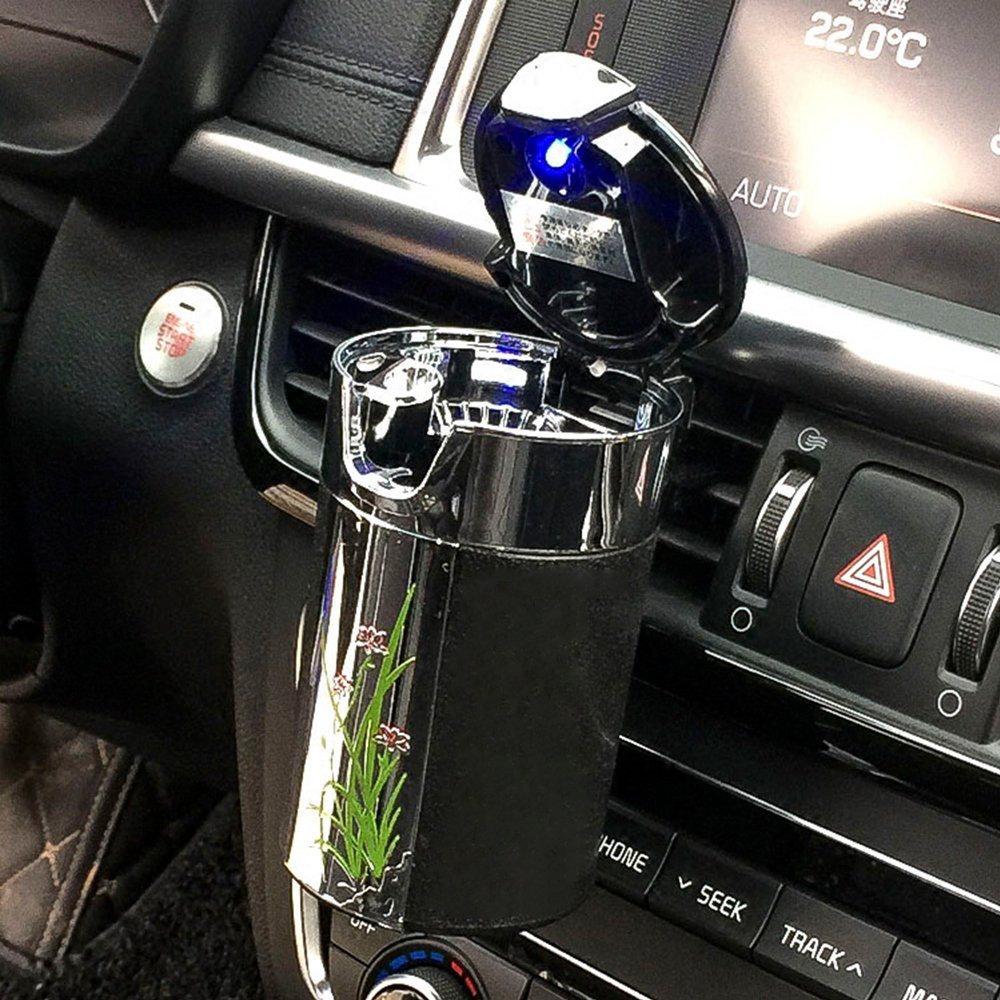 FMS Tragbare Auto Aschenbecher mit deckel und blauer LED Licht fü r Geträ nkehalter oder lü ftung (Weiß )