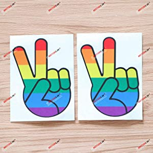 2X Reflective 4'' Rainbow Gay Pride Peace Sign Hand Decal Vinyl Sticker Car Laptop Window