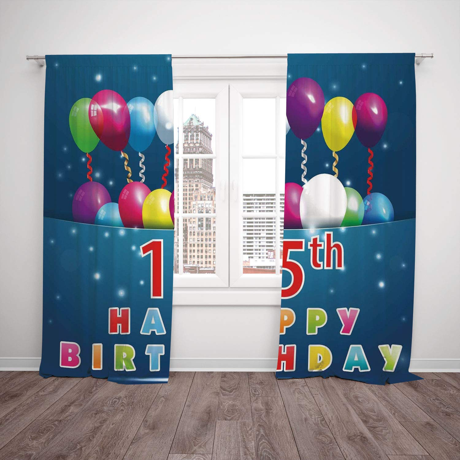 Thermal Insulated Blackout Window Curtain 15th Birthday Decorations Festive Occasion Surprise Party Theme Balloons And Curly Ribbons Multicolor Living Room Bedroom Kitchen Cafe Window Drapes 2 Panel S Amazon In Home Kitchen