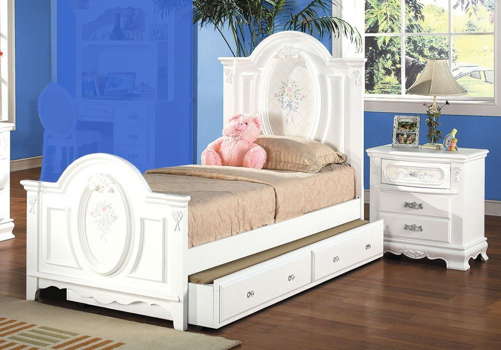1PerfectChoice Flora Youth Girl Full Bed Nightstand Bedroom Set Floral Decor Solid Wood White