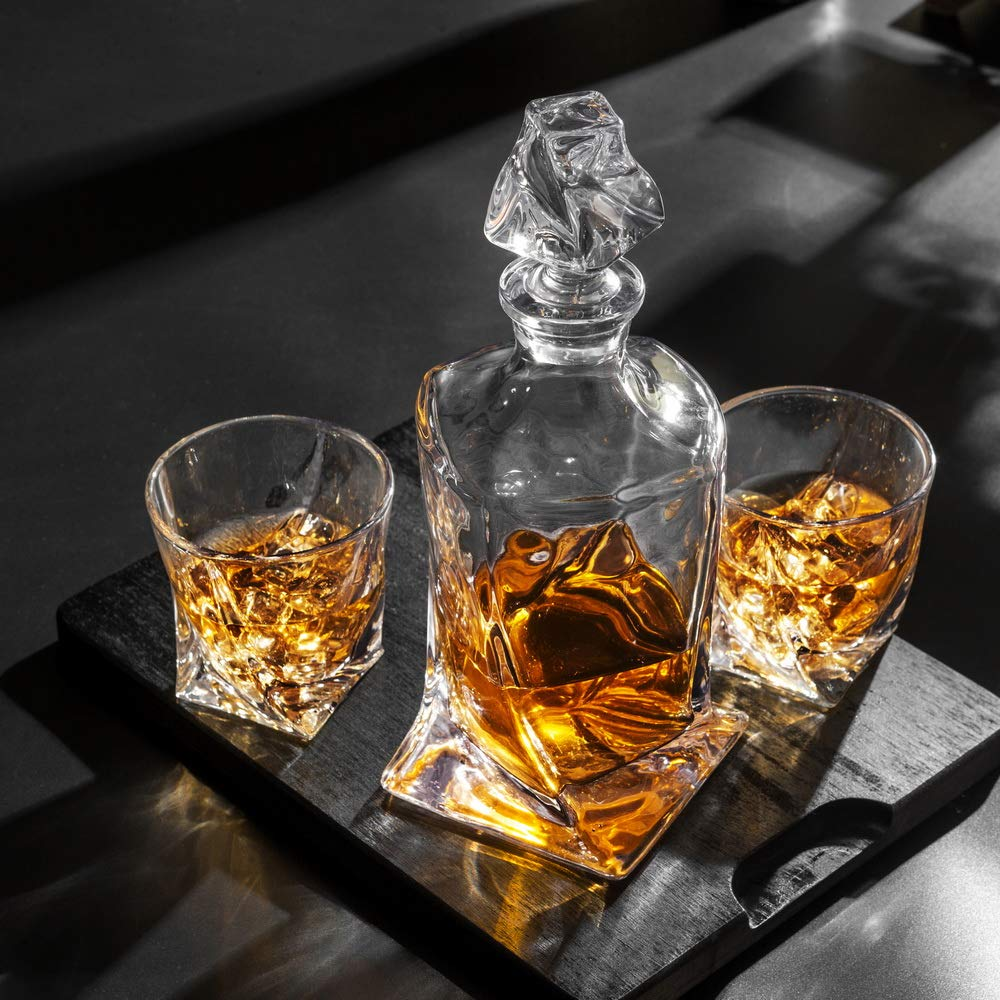KANARS Twist Whiskey Decanter Set With 4 Glasses In Luxury Gift Box - Original Lead Free Crystal Liquor Decanter Set For Scotch or Bourbon, 5-Piece by KANARS (Image #10)