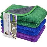 HOPESHINE Microfiber Car Cleaning Cloths Ultra Soft Buffing Wax Polish Towels Thick Car Wash Auto Detailing Towel (16inch X16inch 3-pack, Dark Blue+Purple+Green)