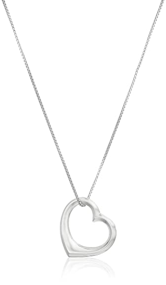 Amazon sterling silver open large heart pendant necklace 18 sterling silver open large heart pendant necklace 18quot aloadofball Gallery