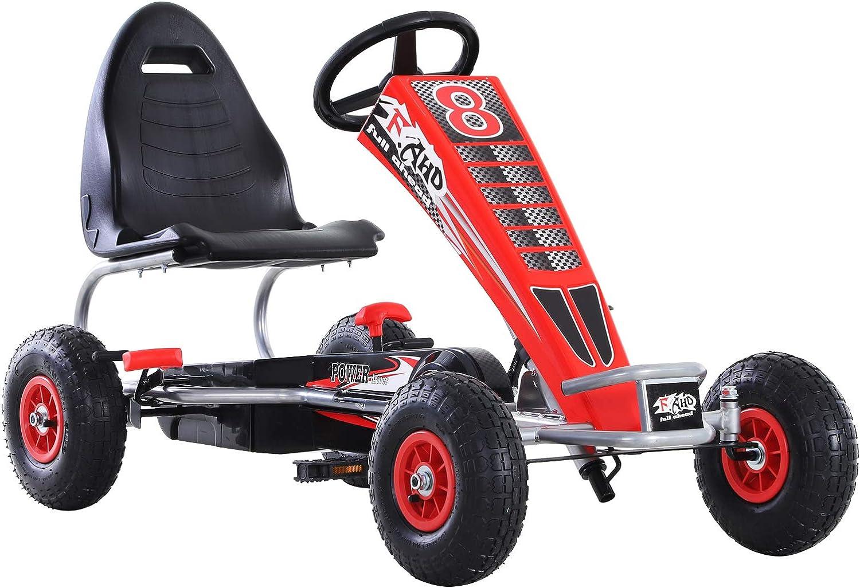 HOMCOM Kart Pedales Niños Coche de Pedales Deportivo con Asiento Ajustable Embrague y Freno para Niños 3-8 Años Carga 50kg Juguete Exterior 121x65x76cm