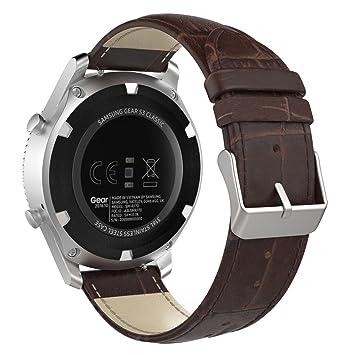 MoKo Gear S3 SmartWatch Correa - Premium/Reemplazo de Cuero Auténtico Imitado de Cocodrilo Strap Band para Samsung Gear S3 Frontier/Galaxy Watch 46mm ...