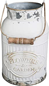 HyFanStr French Style White Milk Can Shabby Chic Metal Vase Flowers Bucket Rustic Pitcher Jug for Home Garden Decor Small