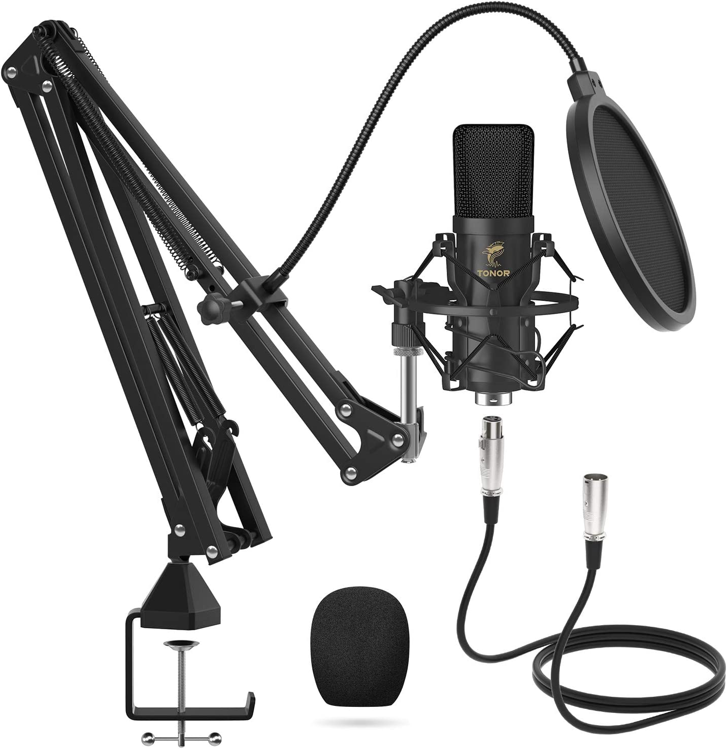 XLR Condenser Microphone, TONOR Professional Cardioid Studio Mic Kit with T20 Boom Arm, Shock Mount, Pop Filter for Recording, Podcasting, Voice Over, Streaming, Home Studio, YouTube (TC20): Computers & Accessories