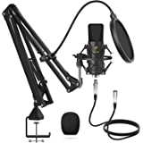 XLR Condenser Microphone, TONOR Professional Cardioid Studio Mic Kit with T20 Boom Arm, Shock Mount, Pop Filter for…