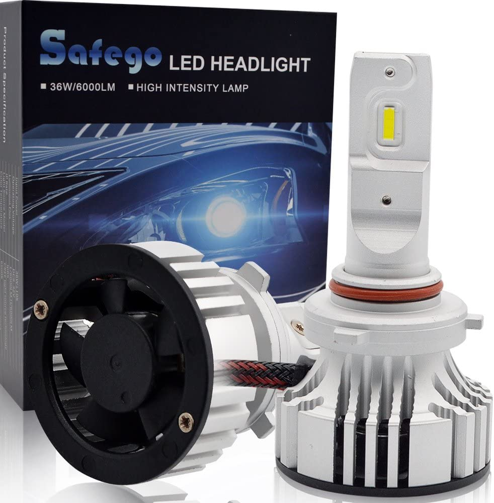 Safego 72W H7 Car LED Headlight Kit Bulbs Super Bright LED Chips 6000Lm Auto Bulb Replacement for Halogen Lights White 6500K Wide Range Angle F2-YD-H7