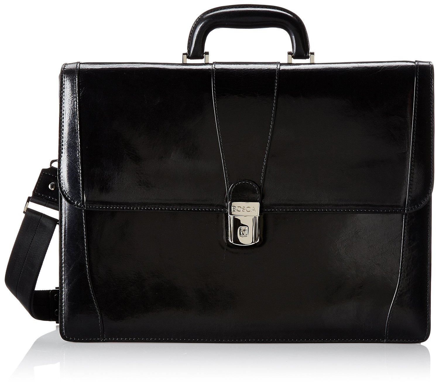 Bosca Leather Double Gusset Briefcase - Black Old Leather by Bosca Leather