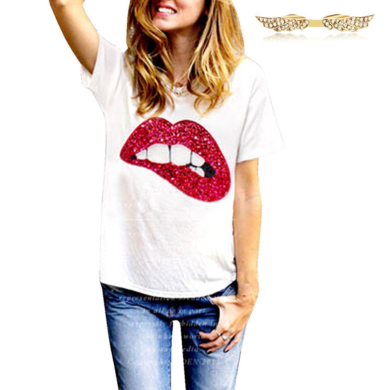 BYD Mujeres Camisetas Manga Corta Labios Impresión T Shirt Túnica Blusas Camisas Tops: Amazon.es: Ropa y accesorios