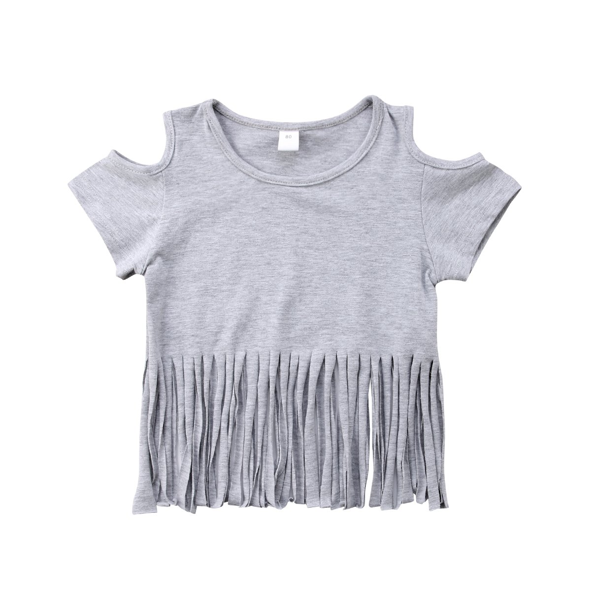 Pheobe Bee Baby Girls Cold Shoulder Tops with Fringe Tassel Hem Short Sleeve Blouses Cute Cotton T-Shirt