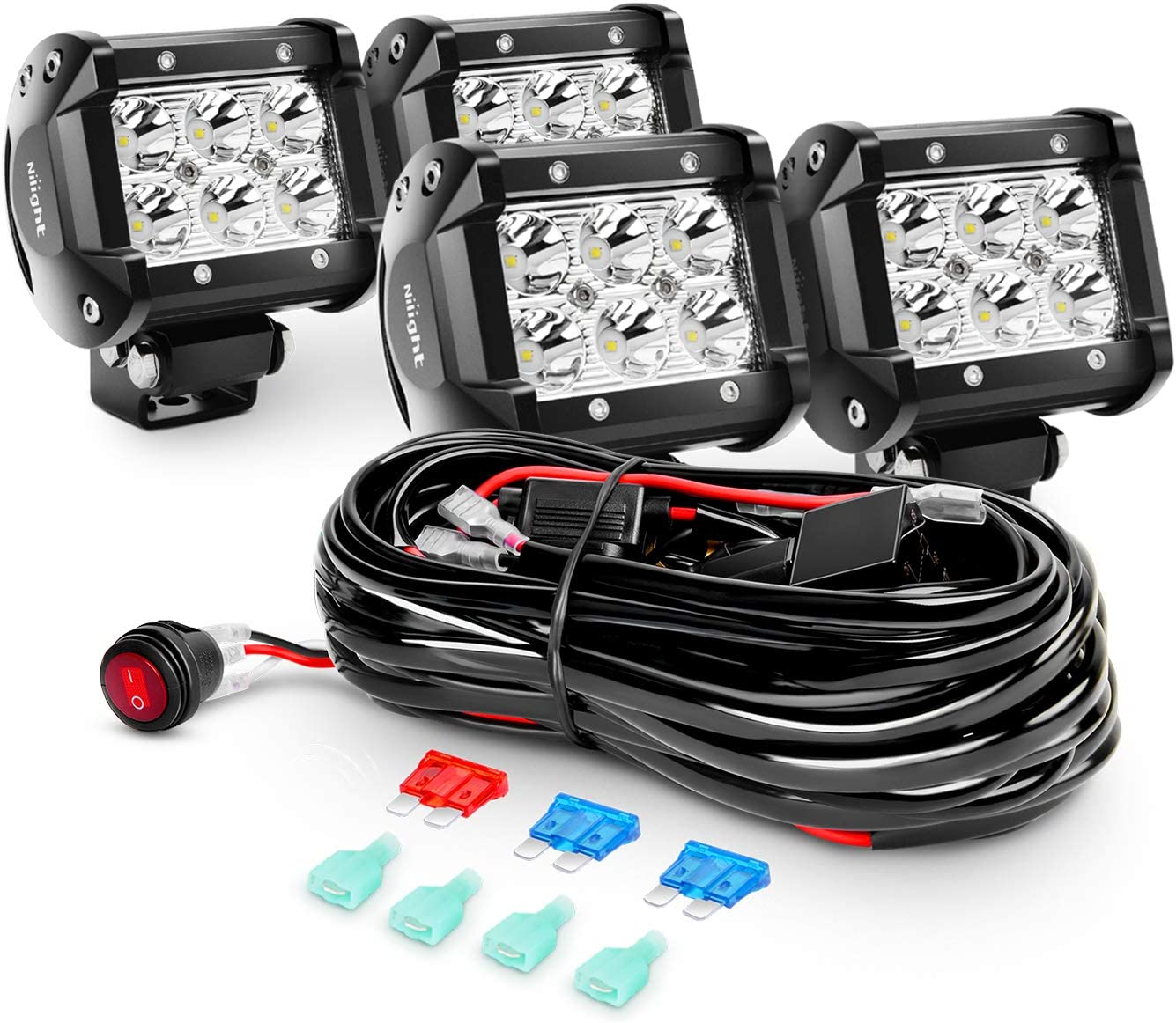 Amazon.com: Nilight 4PCS 4 Inch 18W Spot Led Light Bars LED Work Lights Led  Fog Lights Off Road Driving Lights With Off Road Wiring Harness, 2 Years  Warranty (ZH036): AutomotiveAmazon.com