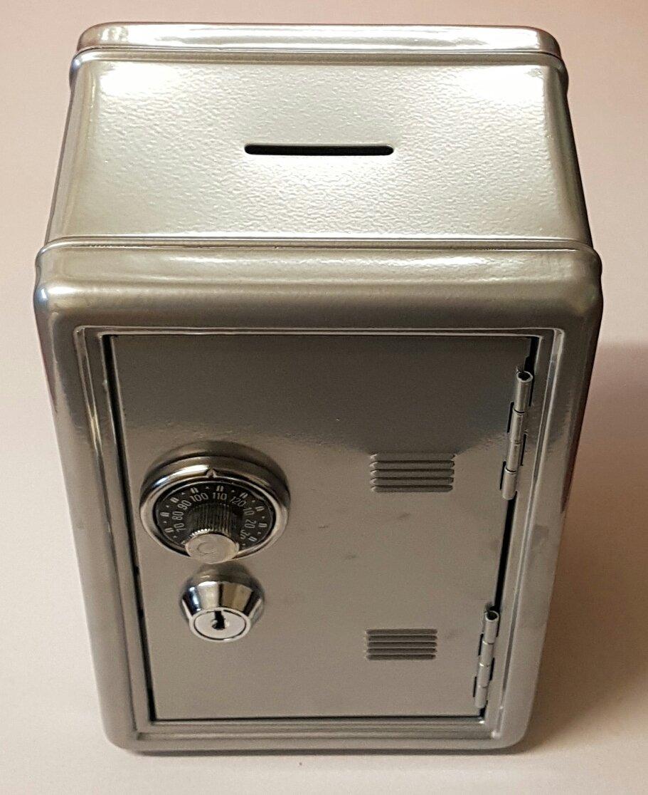 Gamez Galore Kids Lockable Silver Metal Combination and Key Money Bank Safe