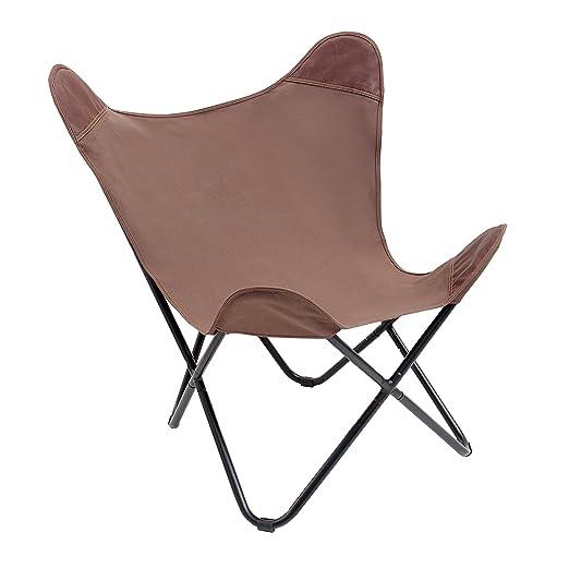Stylischer Sessel Butterfly Braun Leinen Stuhl Eisengestell Lounge