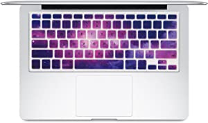 Dogxiong Romantic Purple Star Galaxy Universe Profile Pattern Texture Silicone Keyboard Cover Case Skin for MacBook Air 13 [No-Touch ID], Pro Retina 13 15 Inch [2015 Year or Older Version]