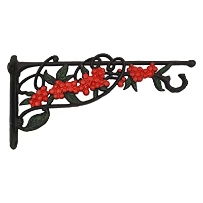 OUTOUR Bright Red Cherry Cast Iron Hanging Plant Bracket Wall Hook Planter Hanger for Planter, Lantern, Wind Chime, Flower Pot Basket, Wind Spinner, Wind Sock, Bird Feeder, Garden Patio Lawn Indoor Outdoor : Garden & Outdoor