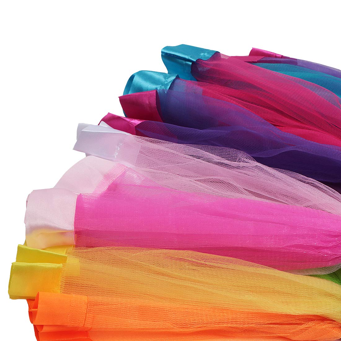 kilofly 3 Sets Girls Ballet Rainbow Tutu Princess Tulle Skirts with Hair Bows AWA422set3
