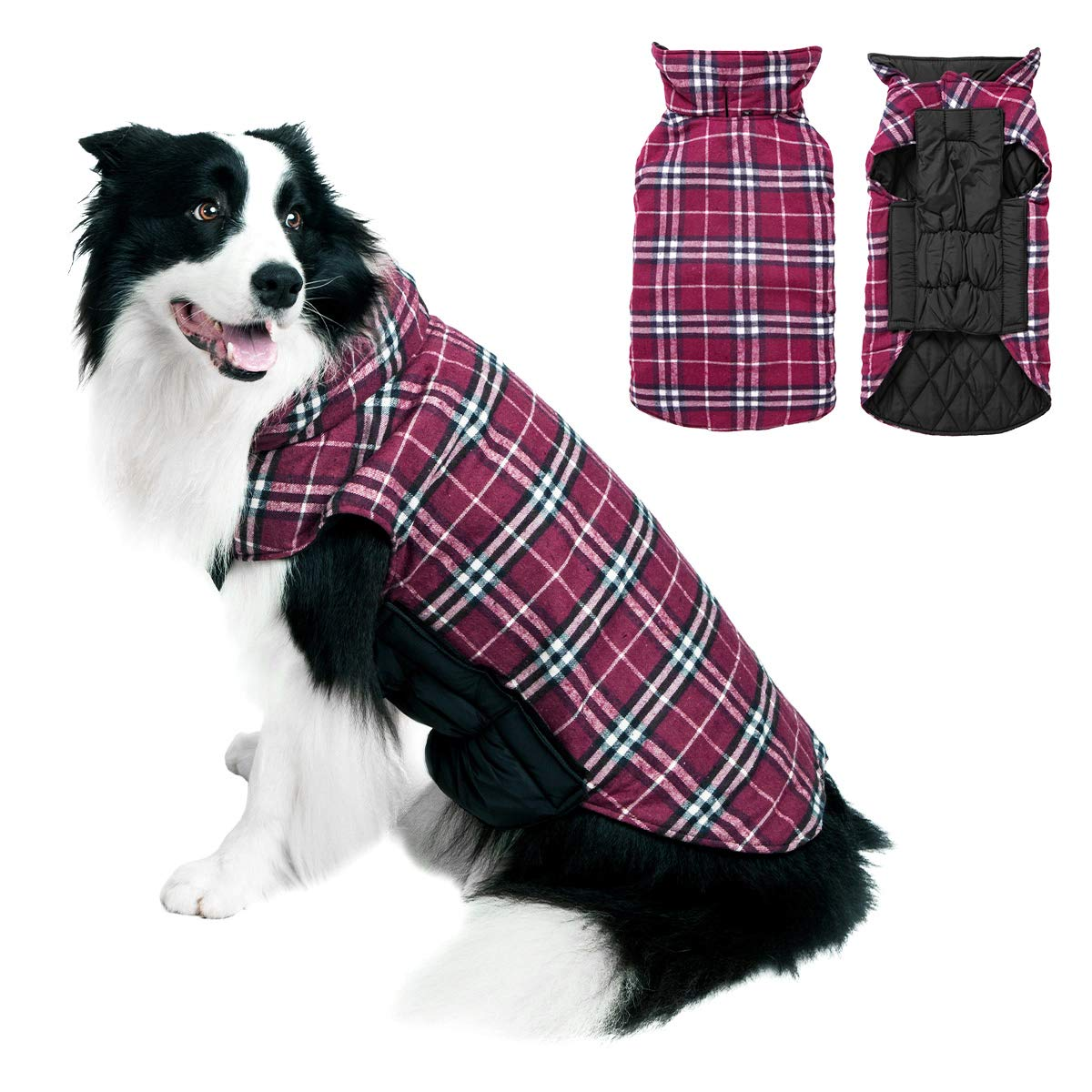 Red M(Back 14.17 inch;Chest 18.89-21.25 inch) Red M(Back 14.17 inch;Chest 18.89-21.25 inch) TPHC Dog Winter Jacket Pet, Windproof Snow Waterproof Sweater Reverible Coat Winter,Dog Clothes Small Medium Puppy Dogs, Red M