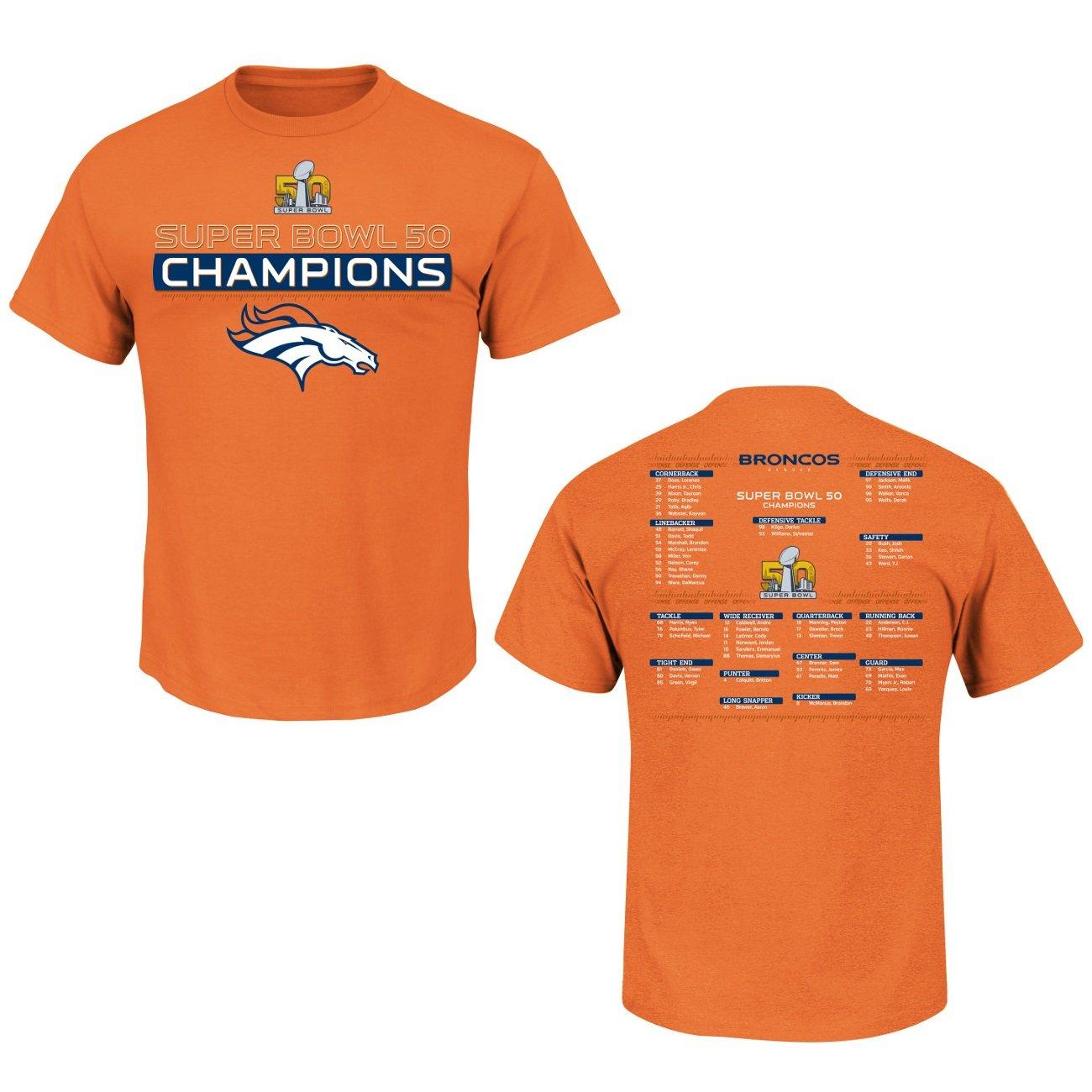 402e4193 Denver Broncos Super Bowl 50 Champs Championship Way Orange T-shirt