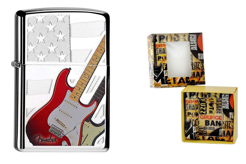 Zippo 15497 Feuerzeug Fender Guitar Premium Gift Set, Special Edition, Collection 2015, Artikel Nummer- 60.000.084.4, Chrom high Polished