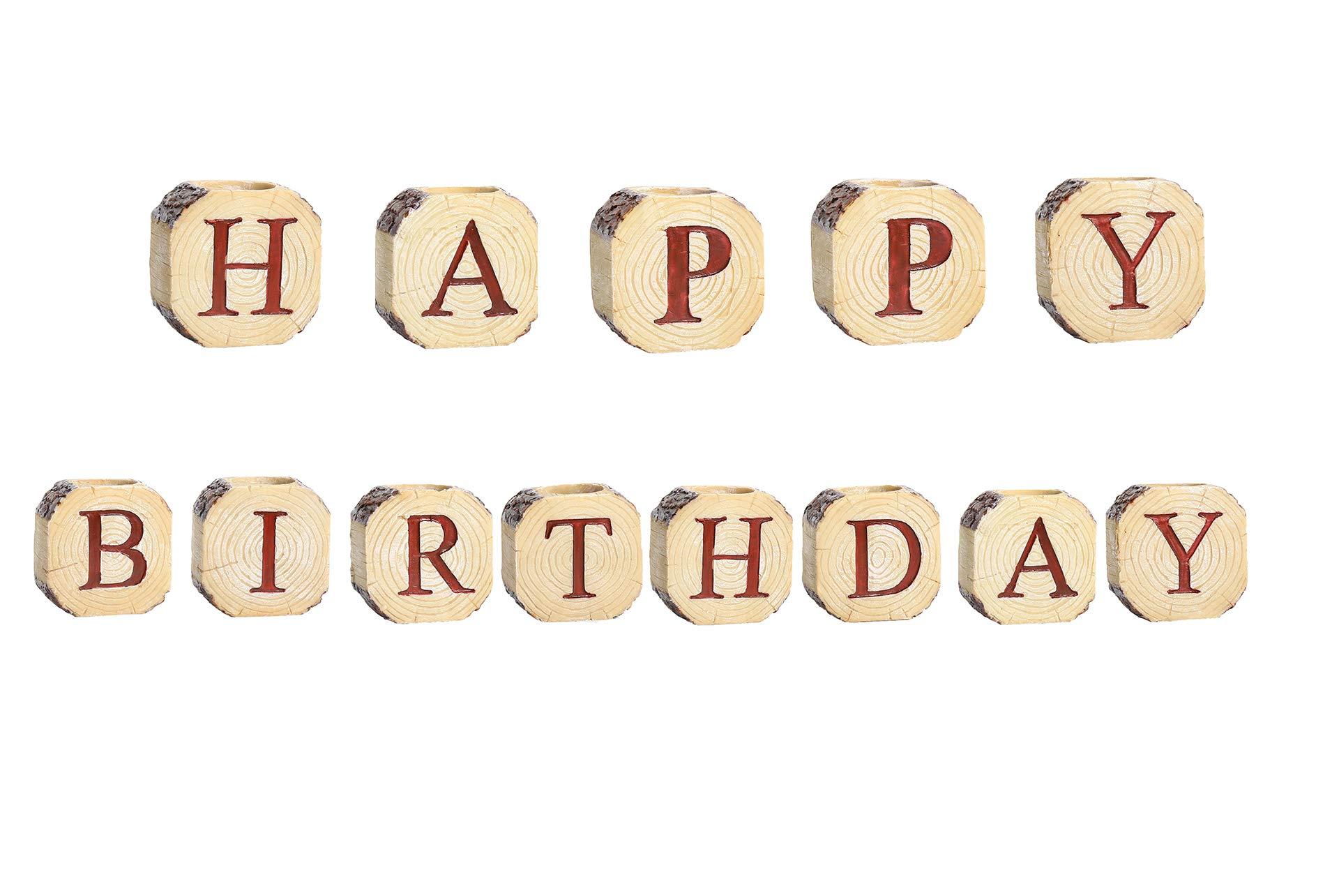 RICHEE-NL 26 Alphabet Resin Candleholder Imitation Wood Grain Creative Crafts Candlestick, Happy Birthday