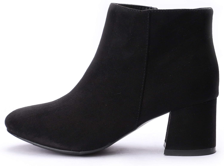 CINAK Women's Ankle Boots Comfort Mid-Heel Booties Zipper Slip-on Round Toe Spring Shoes